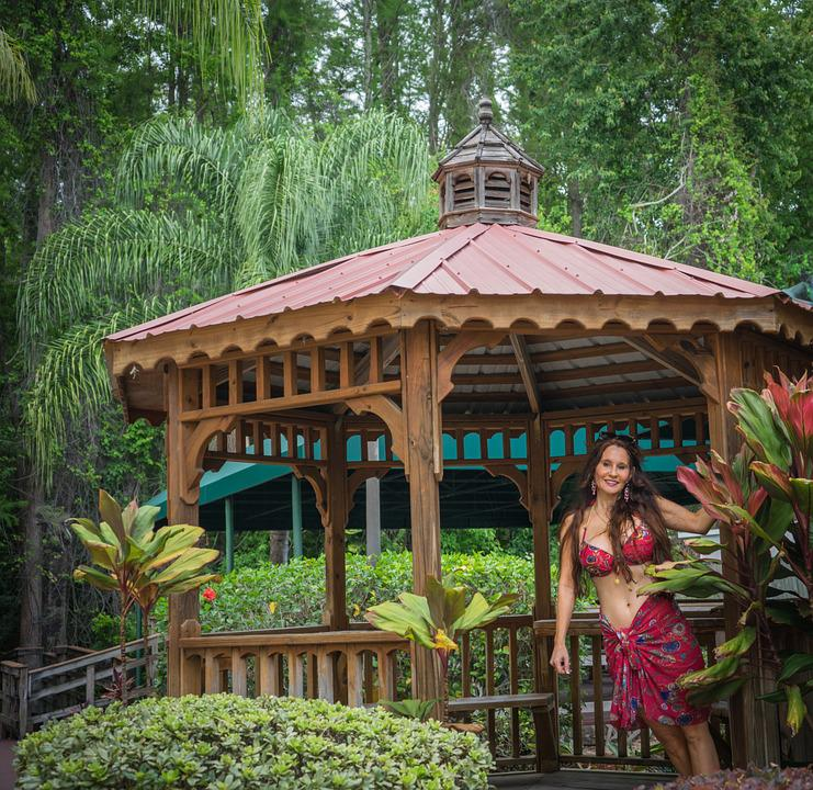 Woman Portrait, Gazebo, Tropical, White, Girl, Female