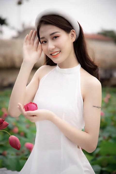 Woman, Model, Portrait, White Dress, Lotus Flower, Pose