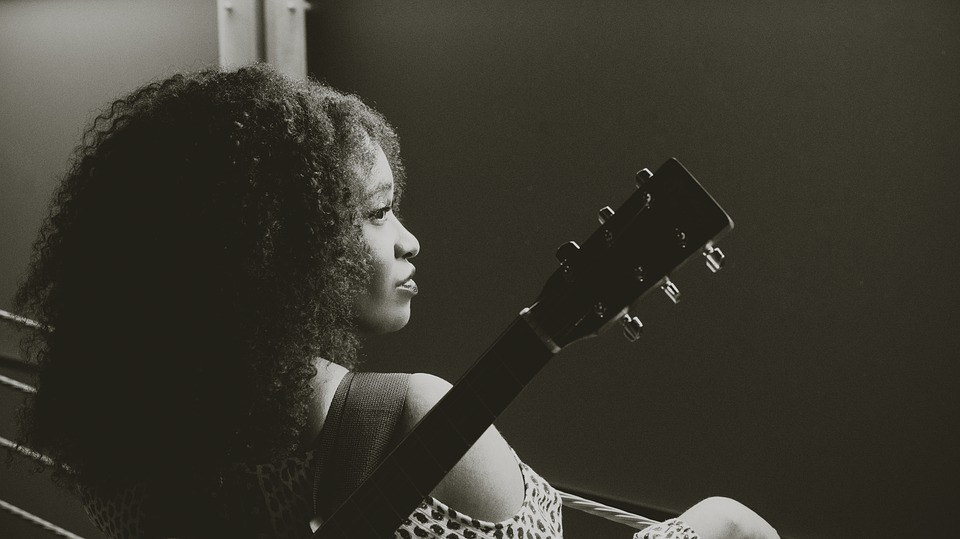 Woman, Guitar, Musician, Profile