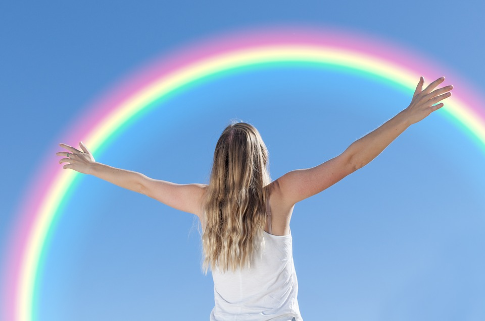White, Young, Woman, In, Embracing, Rainbow