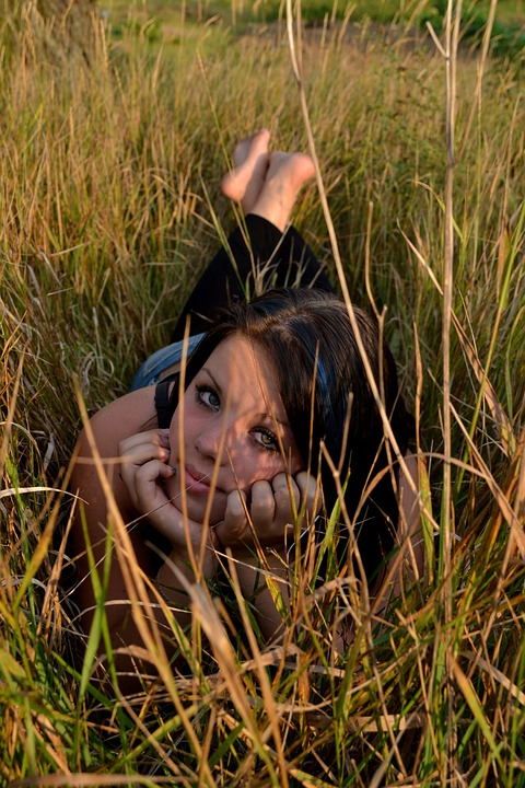 Girl, Grass, Pretty, Break, Resting, Woman, Relaxing