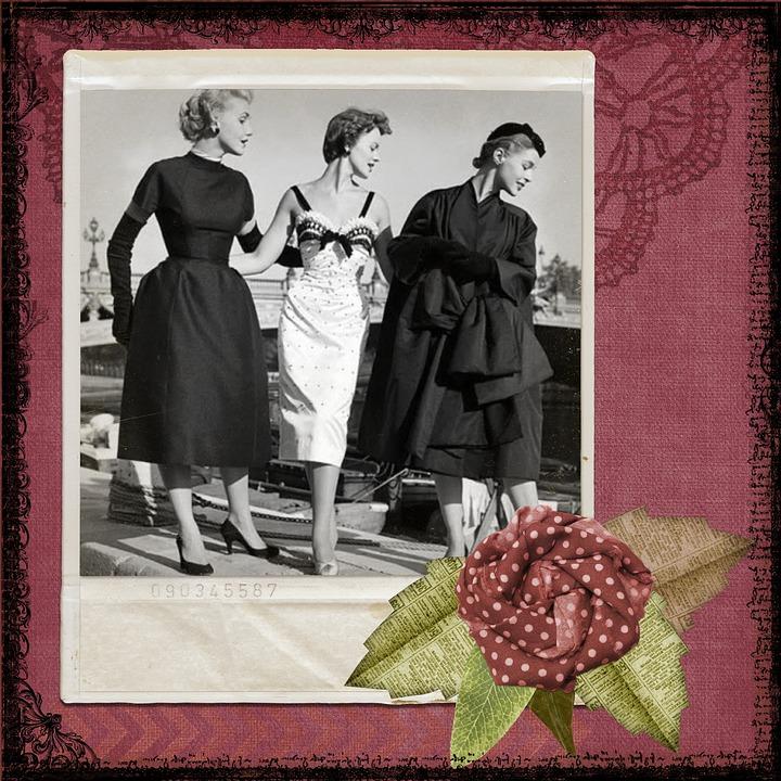 Vintage, Retro, Ladies, Photo, Paper, Scrapbook, Woman