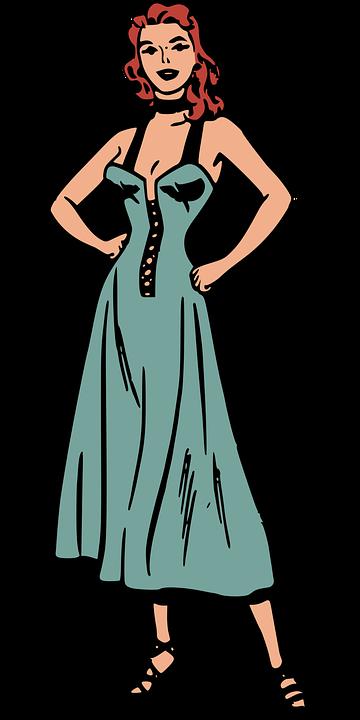 Blue, Comics, Dress, Female, Retro, People, Woman