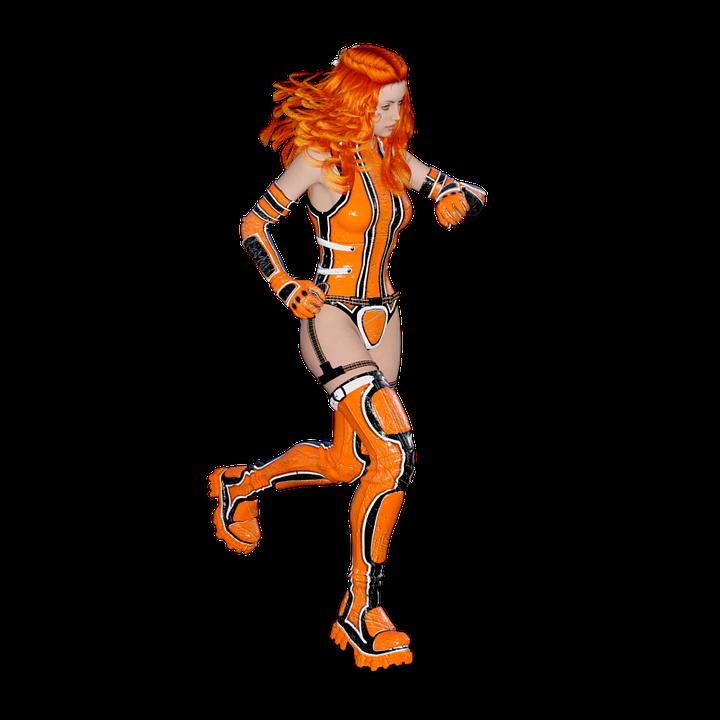 Forward, Woman, Sexy, Young, Run, Red Hair, Femininity