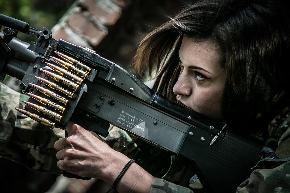 Woman, Soldier, War, Shooting, Warrior, Rifle, Weapon