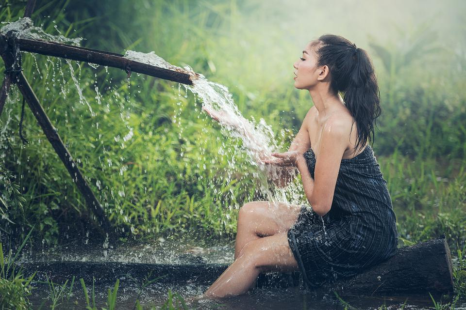 Shower, Water, Asia, Woman, Washing, People, Young