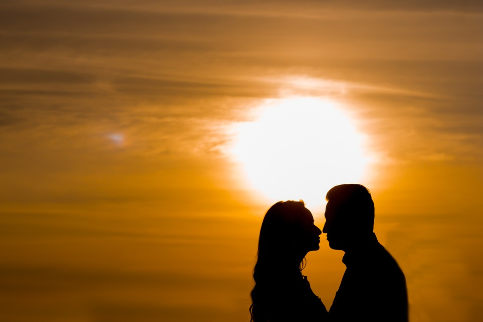 Couple, Silhouette, Sunset, Man, Woman