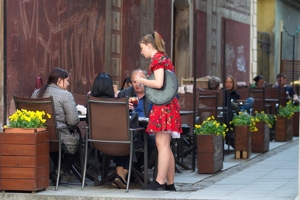 Terrace, The Waiter, Woman, Dress