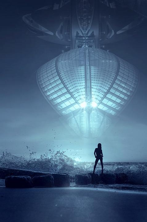 Fantasy, Ufo, Beach, Woman, Silhouette, Spray, Light