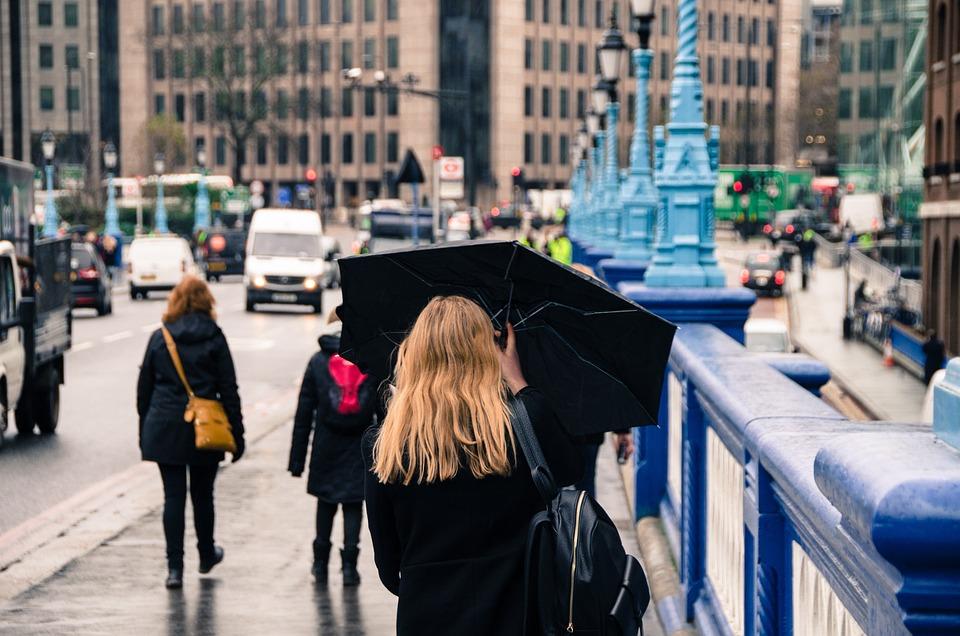 Woman, Umbrella, Rain, Street, Weather, Female, People