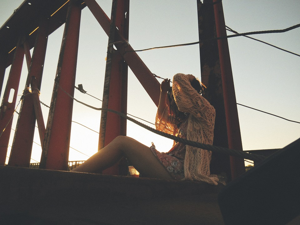 Girl, Woman, Sitting, Sunset, Urban, Bridge, Alone