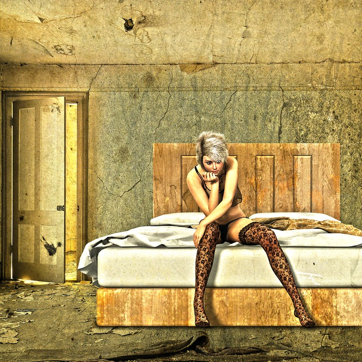 Room, Bed, Woman, Bedroom, Hotel, Pouting, Waiting