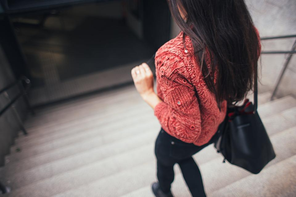 People, Woman, Girl, Bag, Walking, Alone, Stairs