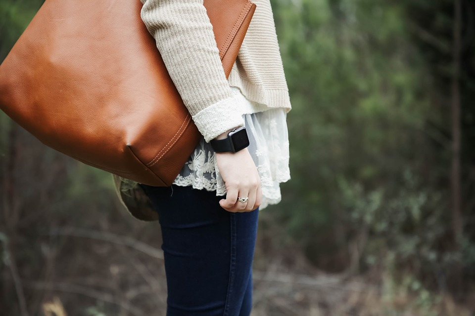 People, Girl, Woman, Leather, Brown, Bag, Watch