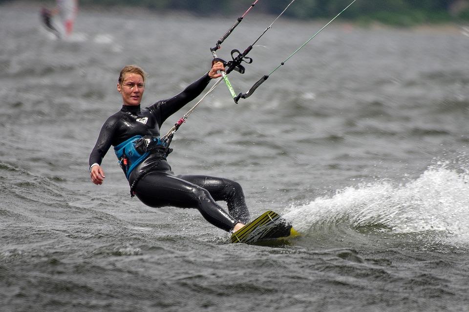 Kitesurfing, Water, Summer, Woman