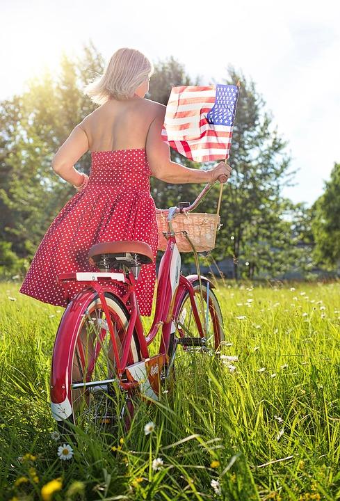 Woman With Bike, Red, Bicycle, Bike, American Flag