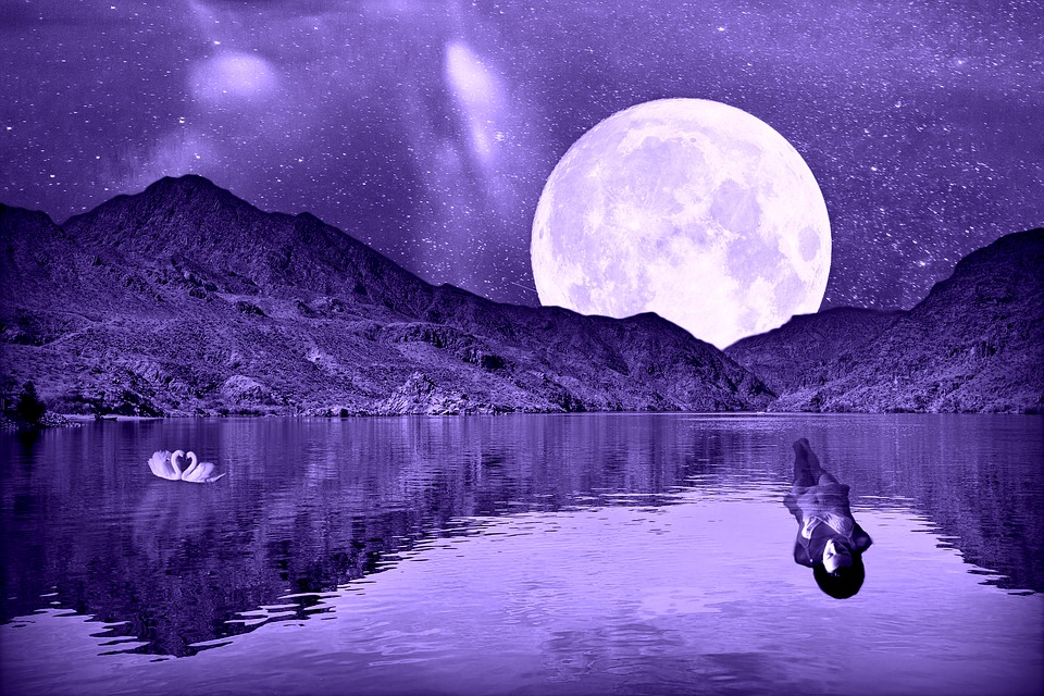 Full Moon, Star, Lake, Mountains, Woman, Woman Swimming
