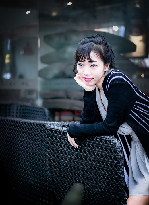 Lovely, Cute, Coffee Shop, Woman, Pink Lipstick, Young