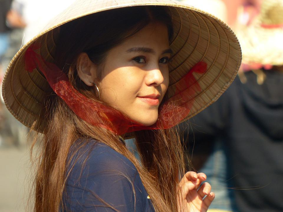 Vietnam, Hat, Tradition, Smiling, Girl, Women, Travel