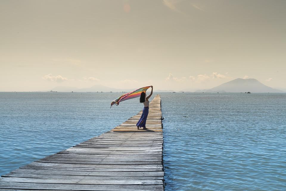 Women, Shawl, People, Sea, Jetty, Pier, Sky, Ocean