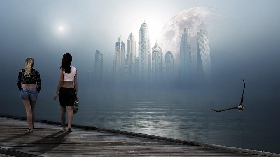City, Bridge, Women, Sea, Abandoned, Buildings, Skyline