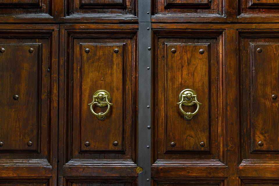 Door, Wood, Ring, Knocker, Brass, Entrance, Closed