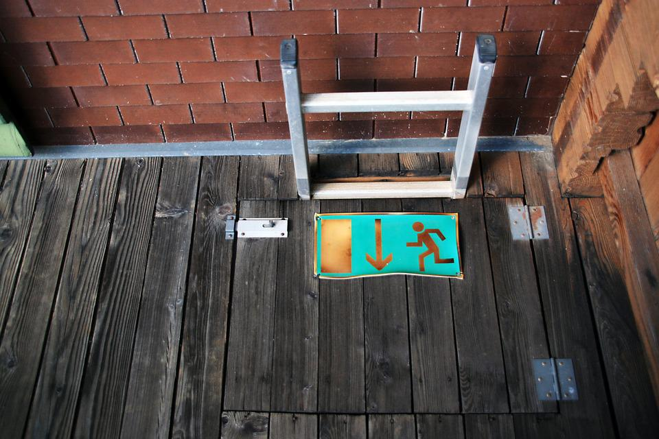 Emergency Staircase, Exit, Scale, Balcony, Wood, Bricks