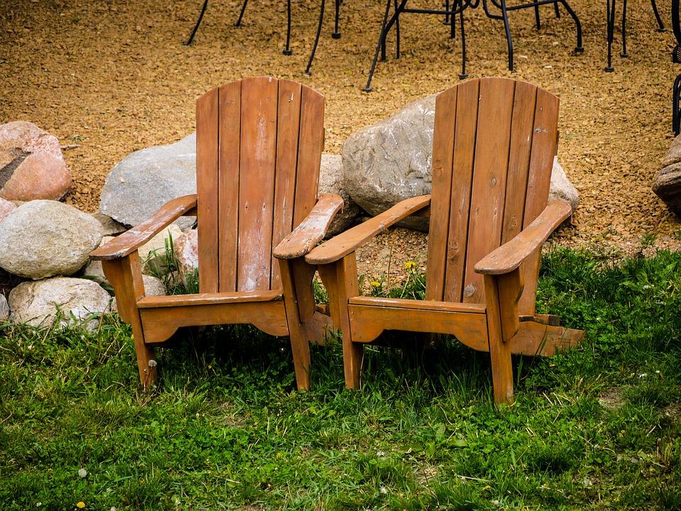 Adirondack Chairs, Lawn, Rocks, Brown, Wood
