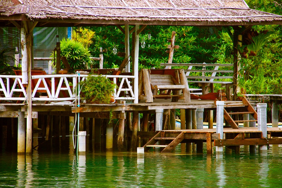 River, Wood Building, Jetty, Wood, Building, Water