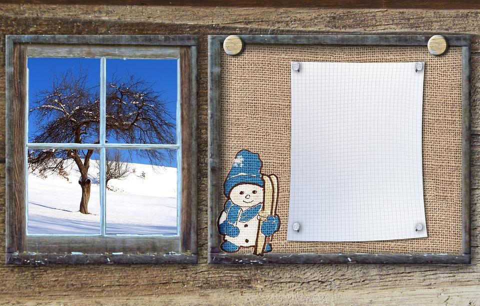 Bulletin Board, Winter Sports, Snow Man, Wood