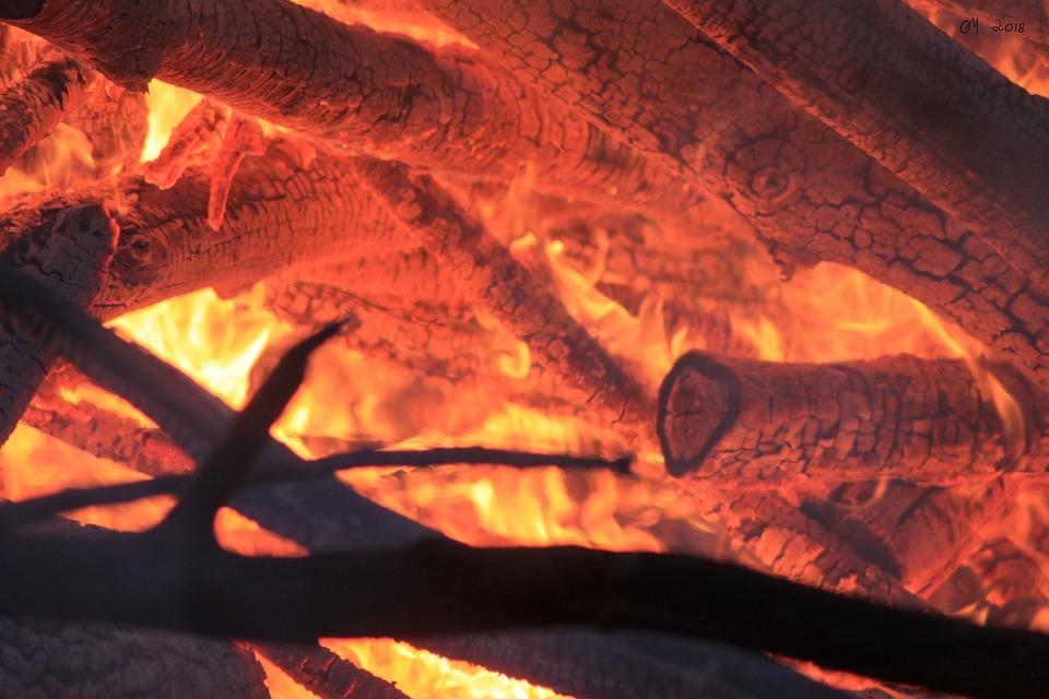 Burning, Glow, Hot, Wood, Campfire, Flame, Fireplace