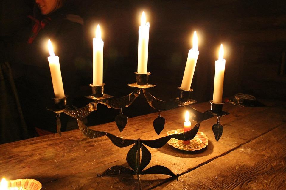 Light, Candlestick, Wood, Candle Wax