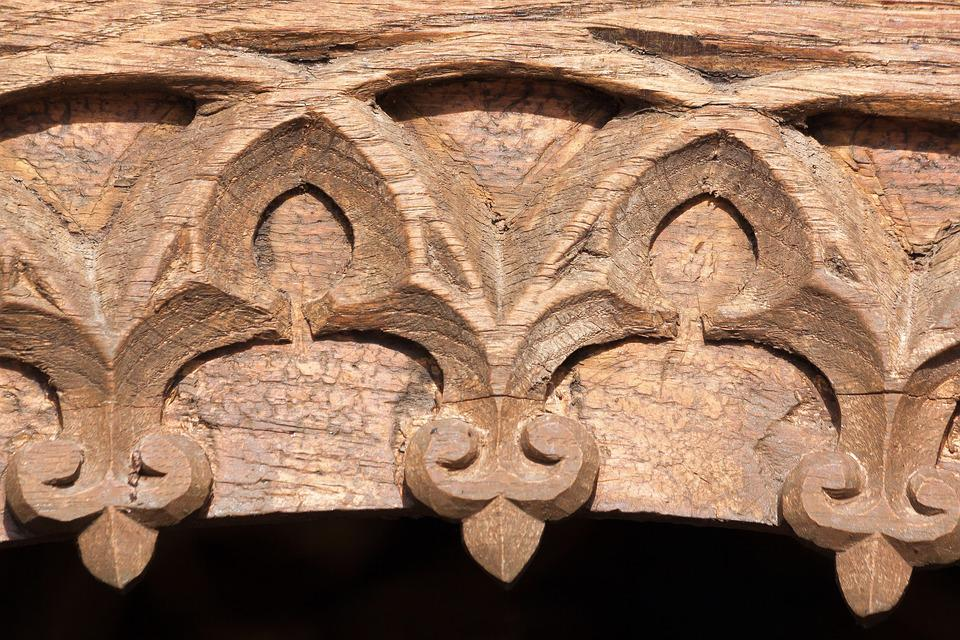 Archway Gothic Carved Wood Building Carving