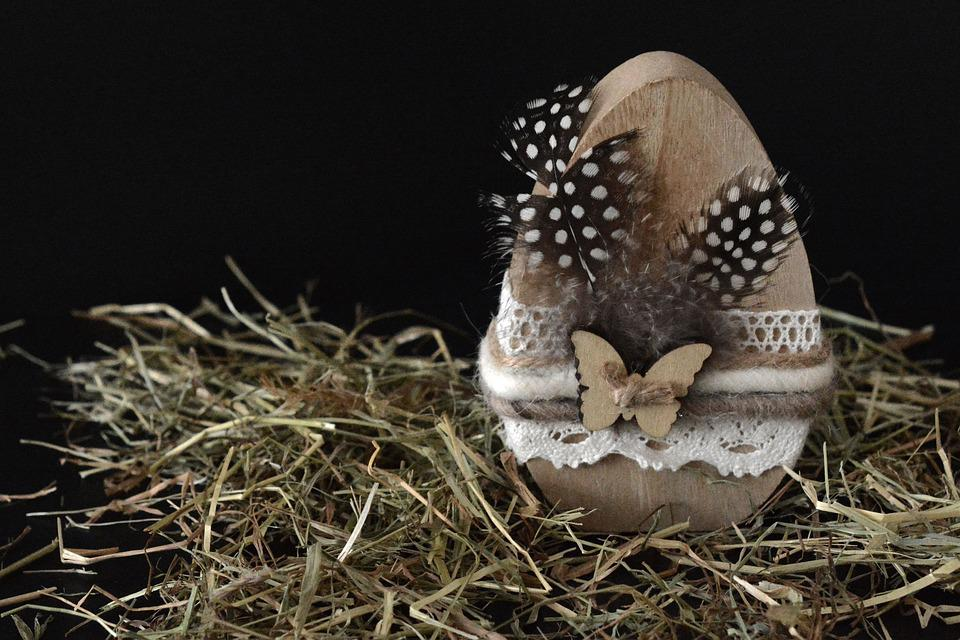 Easter Egg, Egg, Wood, Feather, Easter Decoration