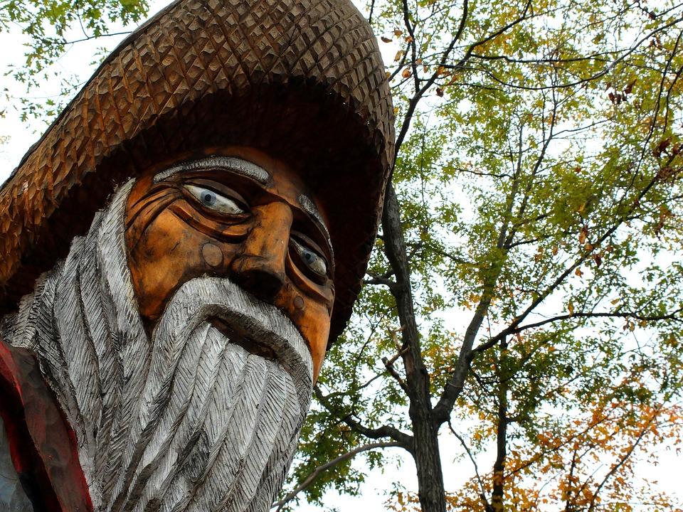 Grandfather, Statue, Wood, Wooden Sculpture, Fisherman