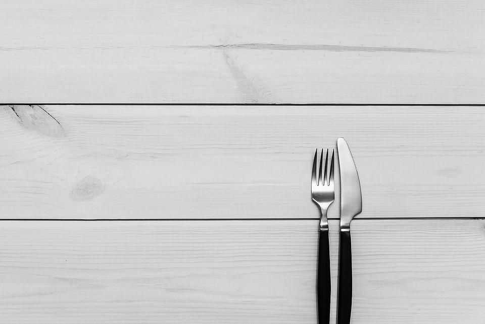 Kitchen, Table, Wood, Fork, Knife, Cutlery, Utensils
