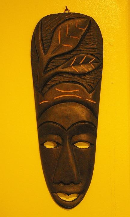 Mask, Haitian, Wood, Carving, Ornament