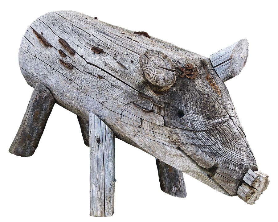 Pig, Boar, Holzfigur, Figure, Wood, Animal, Weathered