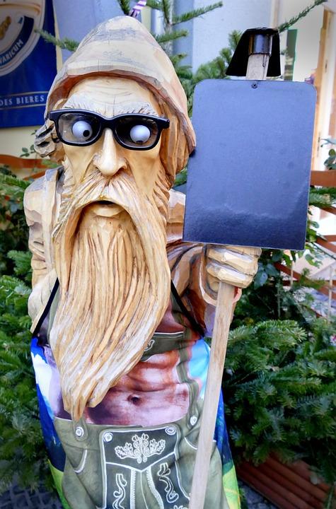 Holzfigur, Carving, Waldschrat, Figure, Wood, Man