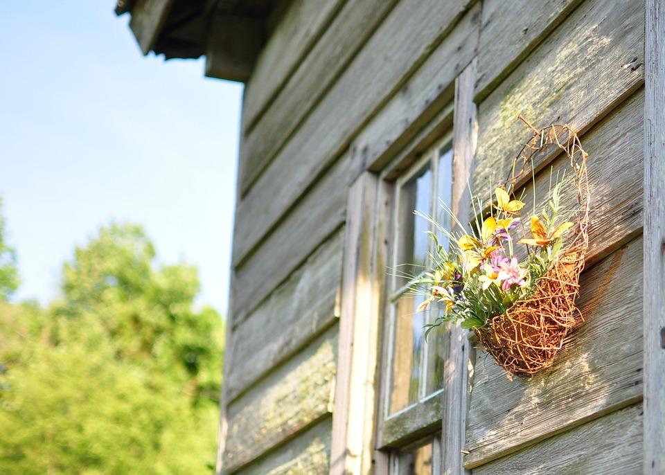 Wood House, Rural, Basket Of Flowers, Cabin