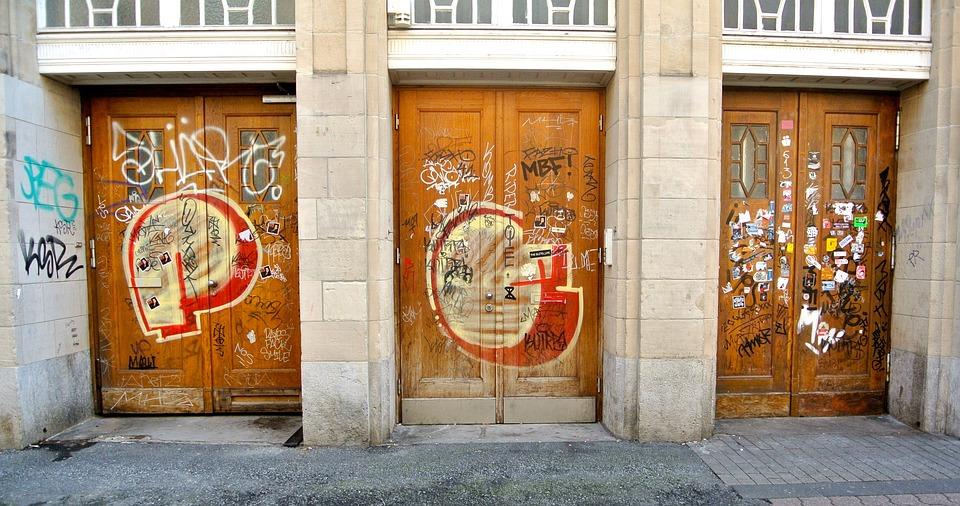Old, Doors, Wood, Old Door, Input, Painting, Closed