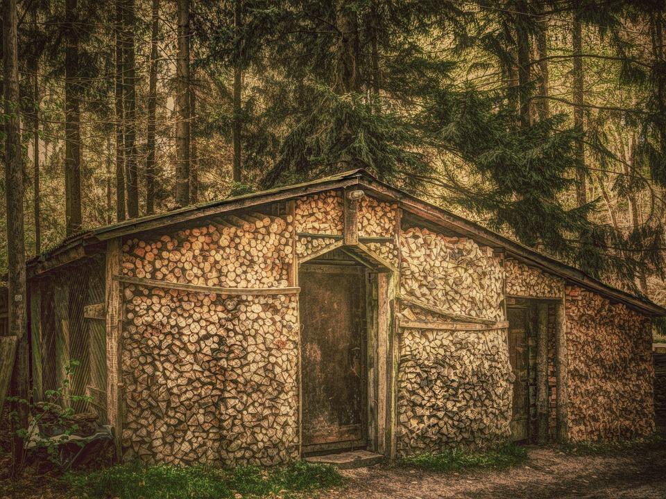 Forest, Hut, Log Cabin, Wood, Old, Firewood