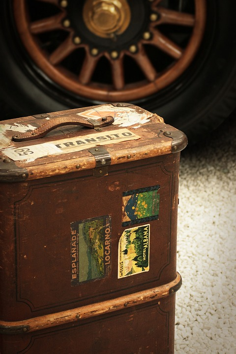 Luggage, Travel, Retro, Wheel, Auto, Wood, Brown