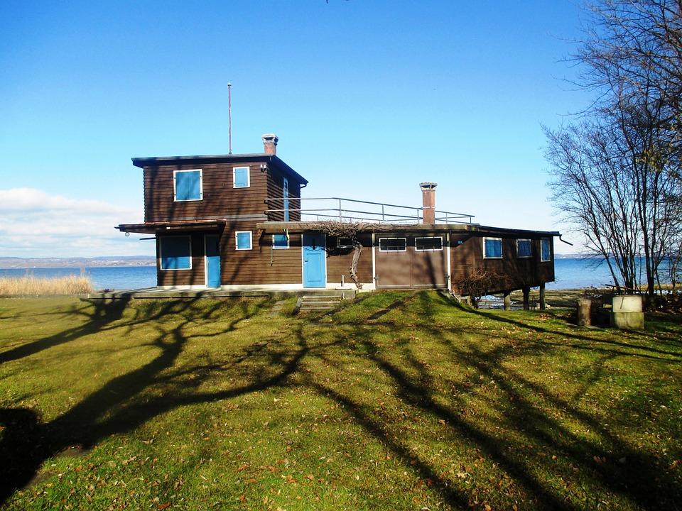 Home, Beach House, Wood, Closed, February, Meadow