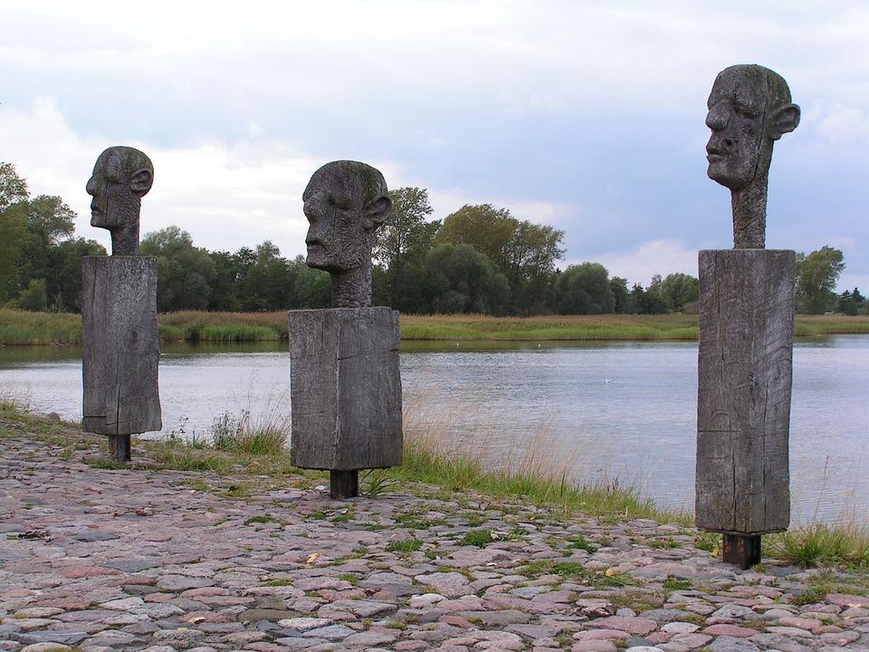 Sculpture, Art, Wood, Weathered, Men, Heads, Wieck