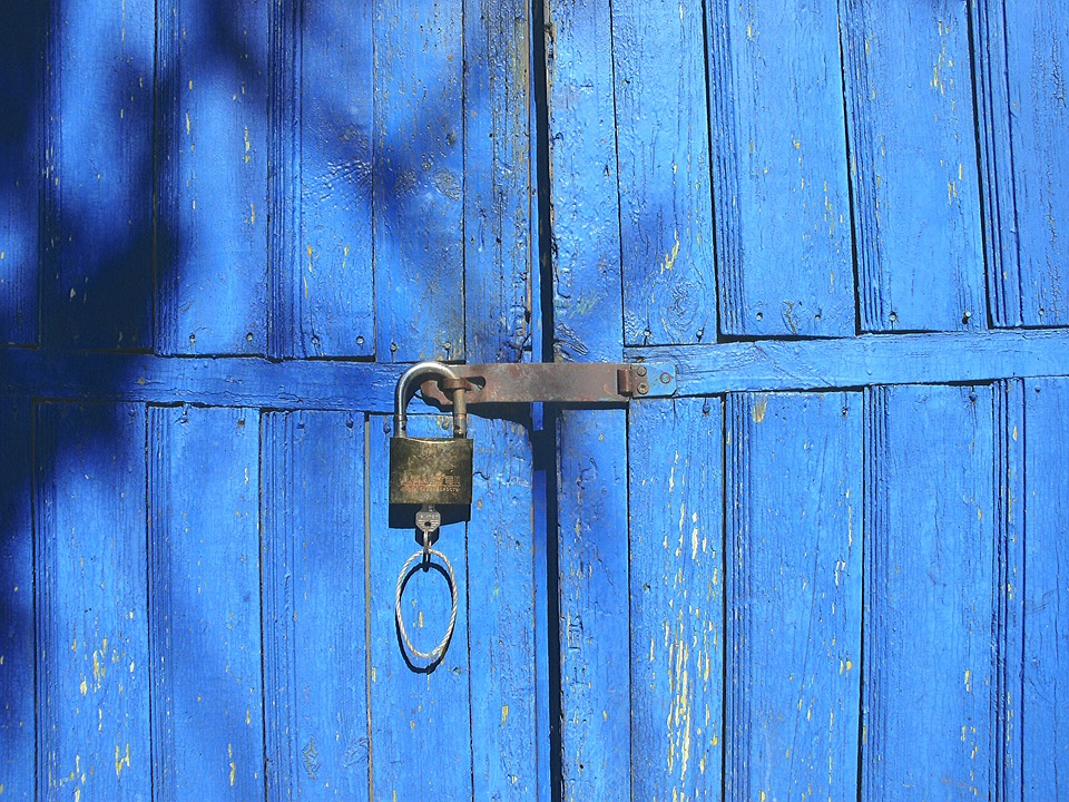 Gate, Lock, Wood, Door, Old, Closed, House, Retro