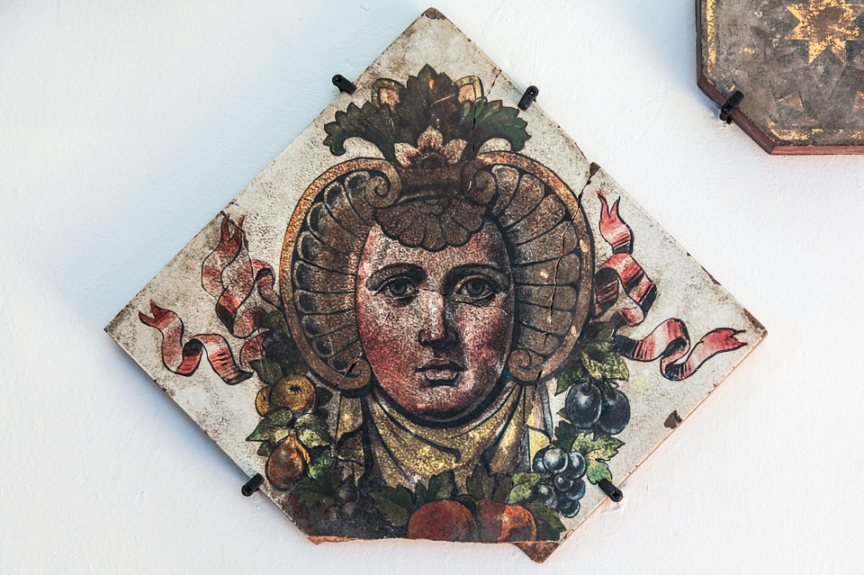Face, Potrait, Ornaments, Wood, Painting, Old, Museum