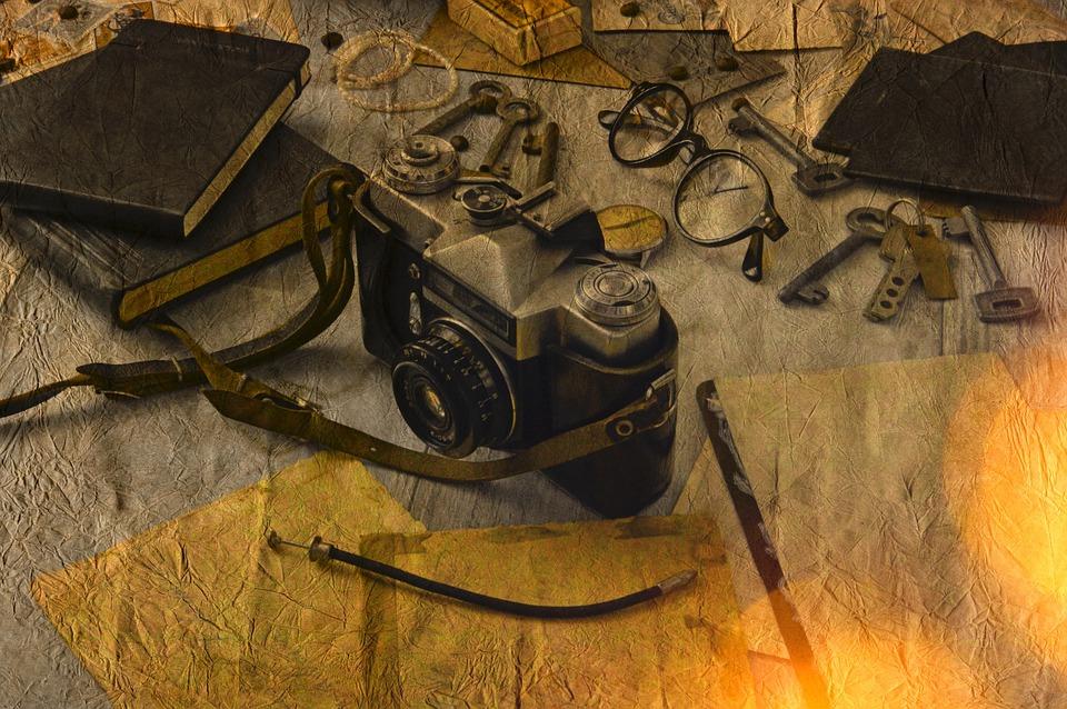 Old, Wood, Background, Rustik, Photo Montage, Camera