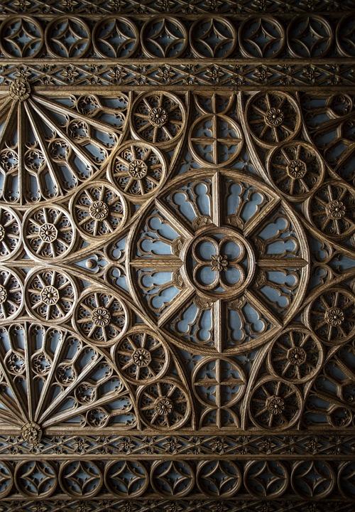Ceiling, The Livraria Lello, Wood, Architecture, Porto