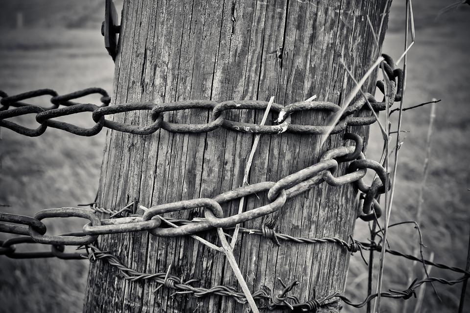 Chain, Wood, Metal, Old, Rusted, Fence